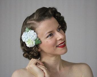"Flower Clip, Blue Hair Accessory, Green Headpiece, Hydrangea Fascinator, Floral Wedding Hairpiece Vintage Clip 1950s - ""Celestial Gardens"""