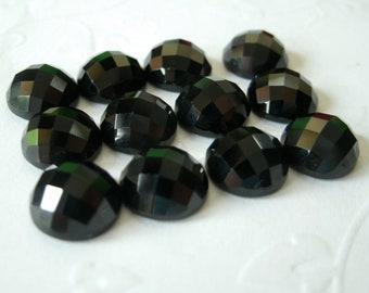 Gemstone Cabochon Black Spinel 6mm Checkerboard FOR TWO