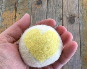 Lemon Yellow Heart, Felted Wool Toy Ball or Sculpture , Mini