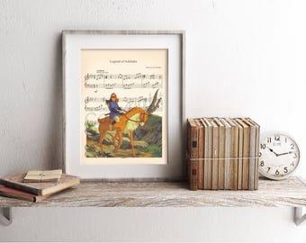 Princess Mononoke Ashitaka and Yakul Sheet Music Art Print