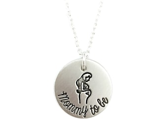 Mommy To Be Necklace - New Mom Necklace - Push Present - Gift For Her - Gift For Mom - Pewter Necklace - Engraved Jewelry