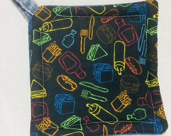 Upcycled Denim Potholder Barbeque Picnic Theme Condiments Ketchup and Mustard, Hamburgers and Hotdogs