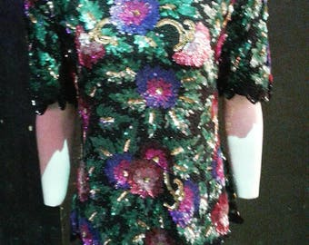 SALE Ace jazzy colourful black and pink green floral 1980s sequin and beaded silk blouse ideal for parties