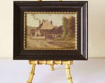 Antique French Landscape Oil Painting on Wood, Barbizon, France