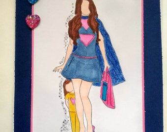 Super Mom Handmade Card, Mother's Day Card, Angiel Girl Super Hero Card with Envelope.