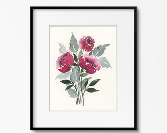 Bordeaux Peonies 8x10 Original Watercolor