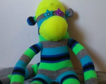 Sock Monkey Toy Neon Stripes Pattern | Quirky Box of Critters