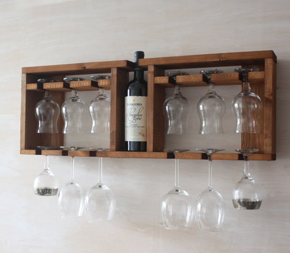 Wooden Glass Shelf Wine Glass Rack Brown Shelf Kitchen