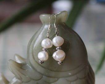 White Freshwater Pearl Earrings, sterling silver hook
