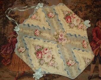 Antique Vintage Handmade Floral BOUDOIR Lingerie Hankie Ribbonwork Case Keeper