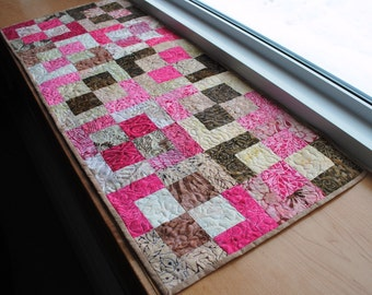 Handmade Quilted Table Runner Brown and Pink  Cotton Batik