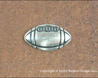Football Jewelry Scrapbooking Charm Finding in Antique Silver Plate (item 1804 AS) - 6 Pieces