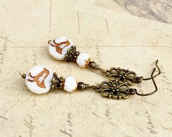 White Earrings, Bird Earrings, Gold Bird Earrings, Long White Earrings, Czech Glass Beads, Unique Earrings, Gold Earrings, Gifts for Her