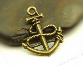 8 Boat Anchor Charms (double sided) 24x19mm Antique Bronze Tone - Anchor Pendants - BF30