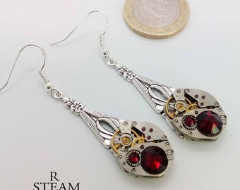Steampunk Earrings  Red earrings - Steampunk Jewelry by Steamretro - Christmas gift - gift for her - earrings - steampunk - gothic  earrings