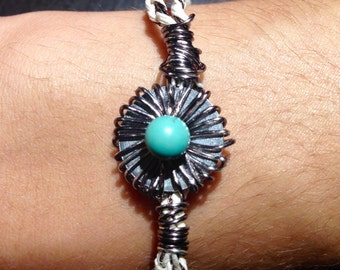 Turquoise Hemp Braided Wire Wrapped Bracelet