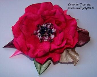 Handmade crimson satin flower brooch, flower pin, embroidered flower