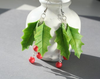 Christmas earrings, Christmas jewelry, Christmas gifts, Holiday gift, Holly berry jewelry, Holly earrings, Holiday earrings, xmas gifts