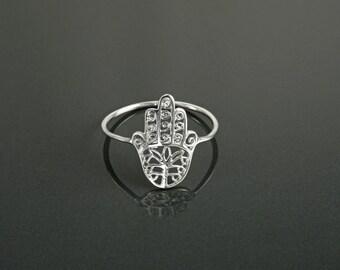 Hamsa Ring, Sterling Silver, Good Luck, Hand of Fatima Ring, Dainty Midi Ring, Hand of God, Filigree Hamsa Ring, Boho Stacking Ring
