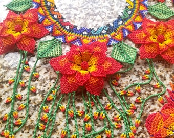 Beautiful Beaded Tribal Huichol Handmade Gorgeous Red,Yellow, Green 3D Flower Necklace