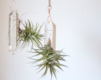 Hanging Air Planter with Quartz Crystal, Airplant Display, Wire Wrapped, Boho Decor, Geometric, Hostess or Housewarming Gift Under 30