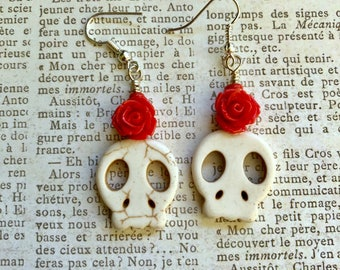 Free US shipping-Sugar skull earrings