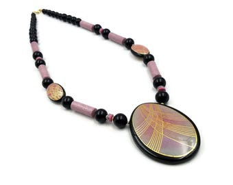 Japan Clay Necklace, Glazed Clay, Wood Beads, Lucite Beads, 1980s Jewelry, Gold Trim, Black and Pink, Chunky Jewelry, Statement Necklace