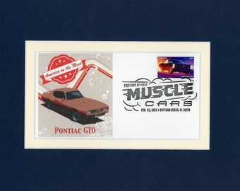 Saluting the Pontiac GTO and the First day Cover of the stamp issued to honor the 1966 Pontiac GTO