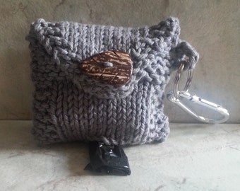 Dog Poop Bag Dispenser Knit Cotton Poop Bag Holder Grey Color Handknit Cotton Knit Fabric Coconut Button Carabinere Clasp 2 Roll Holder