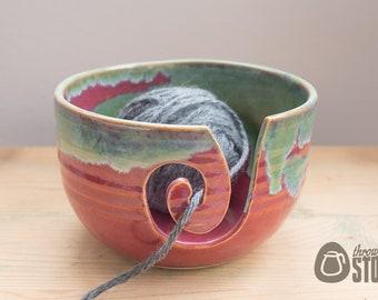 Yarn Bowl - Deep Pink and Green Medium Wool Bowl - Stoneware Knitting and Crochet Bowl