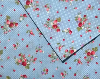SMALL Strawberry 100% cotton printed blue width 140cm
