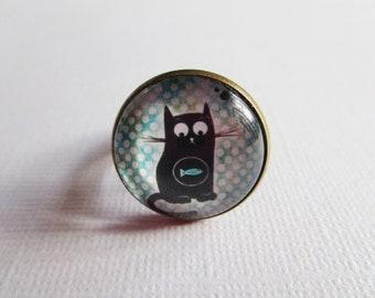 """""""Cat cute II"""", bronze cabochon, costume jewelry ring"""