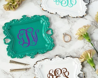 Trinket Dish - Monogram Ring Dish - Jewelry Tray - Wedding Ring Holder - Bridal Shower Gift - Bridesmaid Gift - Engagement Gift for Her