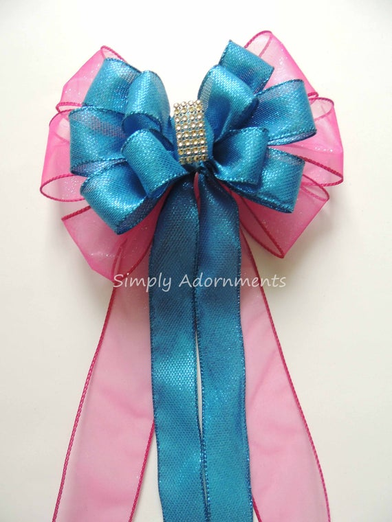 Pink teal Church Wedding Bow Turquoise Pink Church Aisle Pew Bow Wedding Chair Bow Blue Teal Pink Birthday Party Decor Bridal Shower Decor