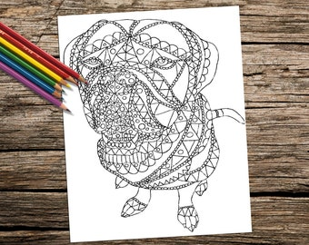 Printable coloring page, coloring for adult, Coloring Pages, Adult Coloring Page, Instant download coloring, Dog Art coloring page, Abstract