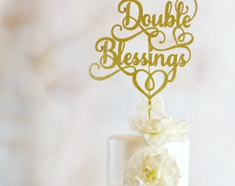 Baby Shower Cake Topper - Double Blessings Cake Topper - Twins Cake Topper - Twins Baby Shower Decorations - Twins Party Decor - Boy or Girl