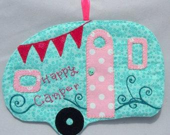 Vintage Trailer Happy Camper Mug Rug - Pink and Aqua