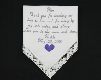 Mother of the bride Gift Wedding Gift Mom Embroidered Handkerchief Personalized Hankerchief gift for Mother of the Bride Napa Embroidery
