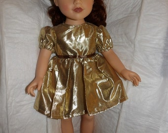 Fancy gold Lame party dress for 18 inch dolls - ag308