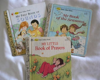 A First Little Golden Books, Set of 3 - 1982 Book of Prayers, 1982 Book of the Seasons, 1991 Book of Sounds, Children's Learning Books