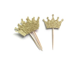 Glitter Crown Toppers, Set of 12