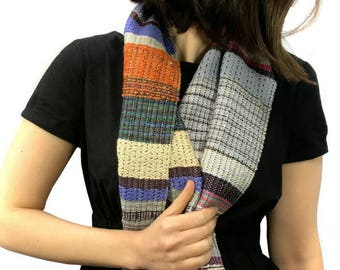 Ruby | Handwoven Purple & Gray Scarf | Cheerful Striped Woven Textile | Loomed Gifts for Mother's Day | Woven pidgepidge Scarf | H72