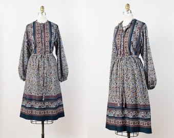 1970s Peasant Dress - Vintage 70s European Folk Dress - Ethnic Boho Floral Dress with Long Sleeves - M