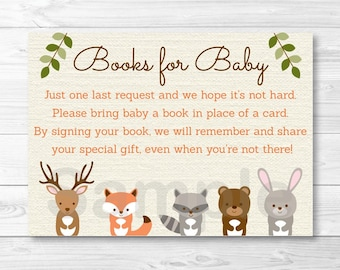 Woodland Forest Animal Baby Shower Book Request Cards / Woodland Baby Shower / Books For Baby / Printable INSTANT DOWNLOAD A187
