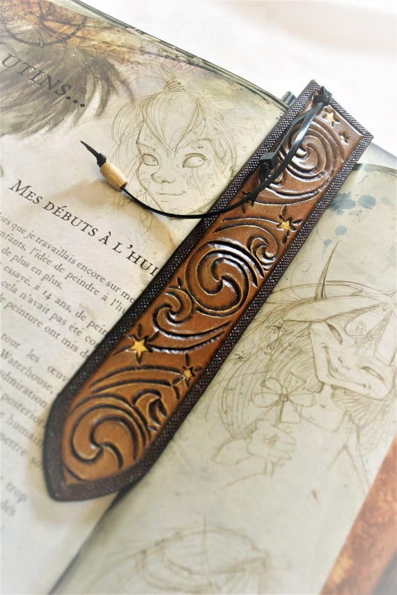 Leather bookmark, paganfolk style, starry night, inspiration, fairy book accessory, gift