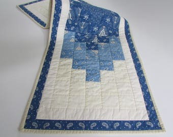 Quilted Table Runner in blue and cream adds lovely traditional colors to your home