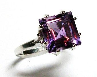 "Amethyst, AAA amethyst, amethyst ring, princess amethyst, engagement ring, birthstone ring,solitaire ring, purple, s 6 1/2   ""Purple Haze"""