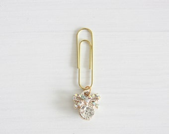 Gold paperclip with diamond bow bookmark plannerclip