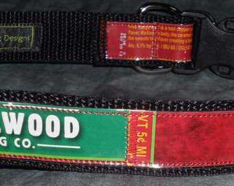 Adjustable Dog Collar from Recycled Laurelwood Free Range Red Beer Labels