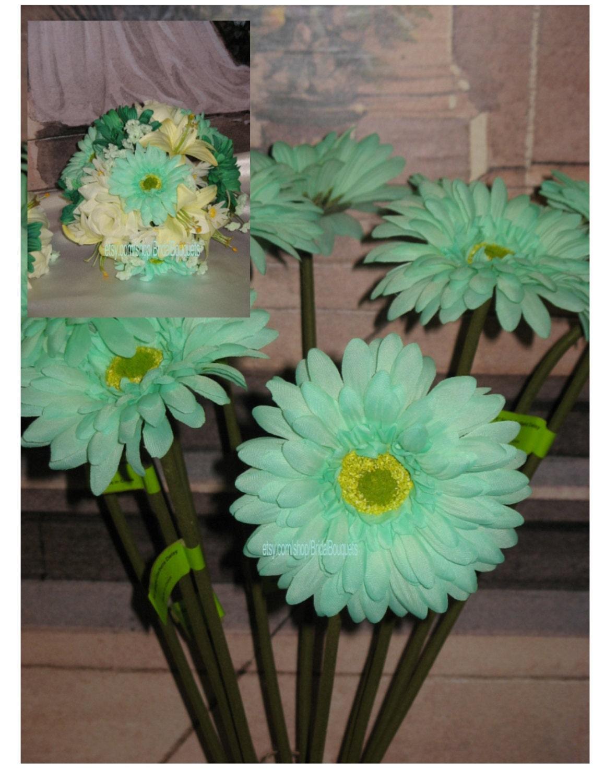 1 artificial mint gerbera 4 diameter with stem mint flowers mint item details mightylinksfo Images